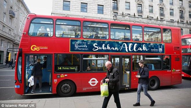 درج سبحان الله بر روی اتوبوس های بریتانیا!